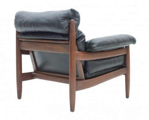 Brazilian Lounge Chair with Black Leather Cushions & Mahogany Wood, circa 1960s