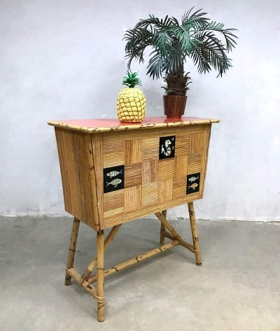 Vintage sixties bamboo cocktail bar, 1960s