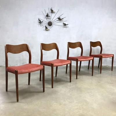 Set of 4 Nr. 71 dining chairs by Niels O. Møller for JL Møllers Møbelfabrik, 1950s