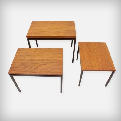 Set Of 3 Dutch Teak & Metal Nesting Tables by Cees Braakman for UMS Pastoe