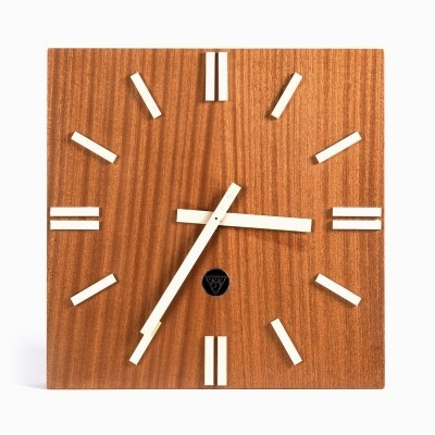 Wooden wall clock Pragotron type PPH 410 from the 1980s
