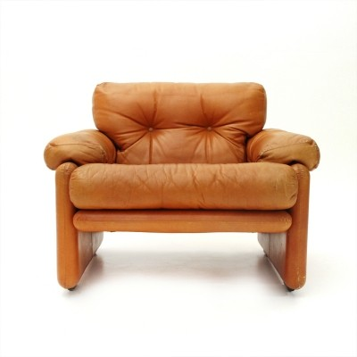 Brown leather Coronado armchair by Tobia Scarpa for B&B, 1960s
