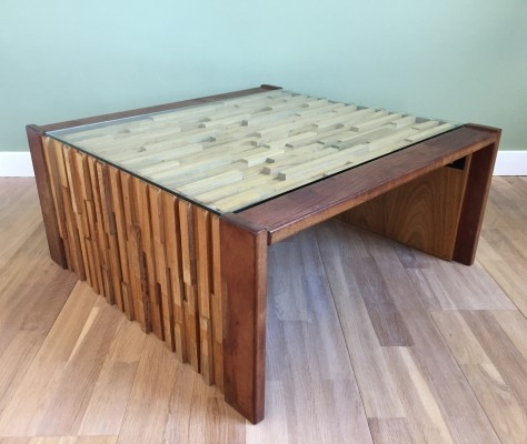 Foldable coffee table by Percival Lafer with Mosaïc of exotic woods & glass top