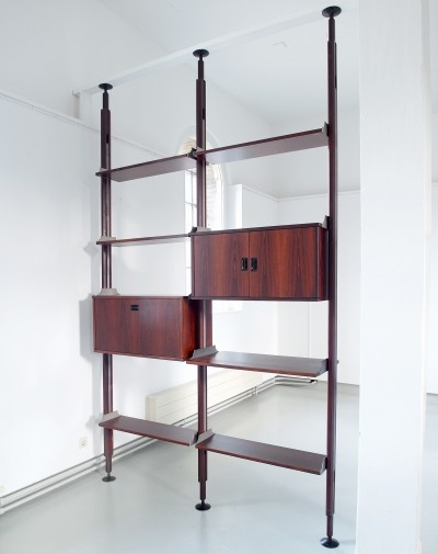 Stildomus rosewood shelving system library, Italy ca.1960