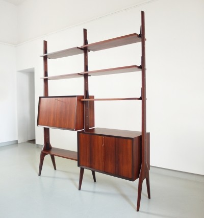 Free standing rosewood shelving unit with sculptural details, Italy ca.1955