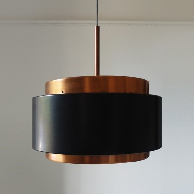 Stilnovo pendant lamp in copper & opaline glass, Italy ca. 1958