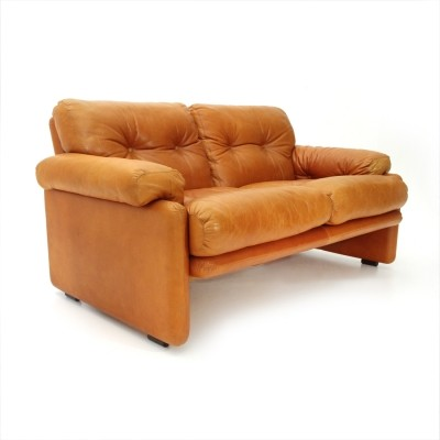 Brown leather Coronado two-seater sofa by Tobia Scarpa for B&B, 1960s