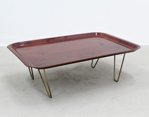 Mid century Italian design folding tray in pressed teak by Faber, 1950s