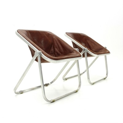 Pair of Leather Plona folding chairs by Giancarlo Piretti for Castelli, 1960s