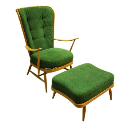 Windsor 478 armchair with ottoman by Lucian Ercolani for Ercol, 1950s