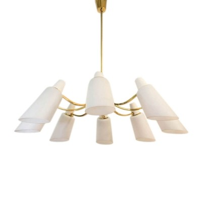 Sputnik chandelier with 8 Opaline lampshades, Italy 1950s