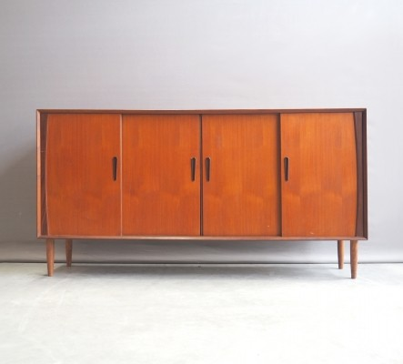 Westergaard teak highboard with sliding doors, 1960's