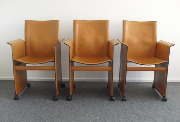 Set of 3 Arrben Italy Dining Chairs, 1980s