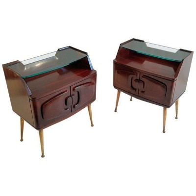 Midcentury Italian Nightstands in Rosewood with Brass Spider Legs
