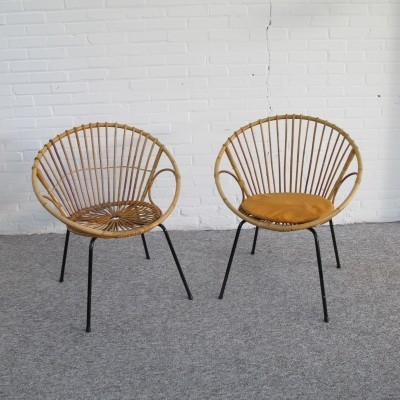 Pair Rattan chairs by Dirk van Sliedregt for Rohe, Holland