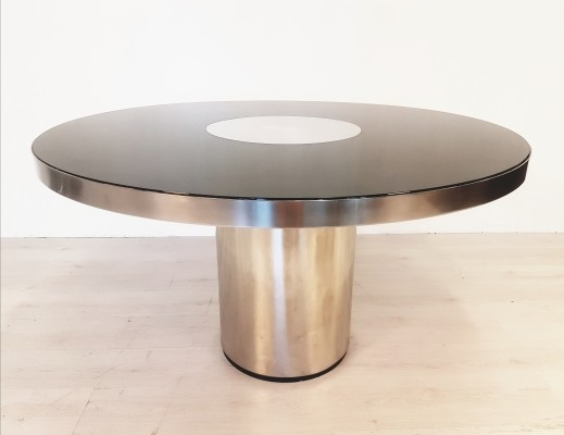 Rare polished stainless steel & smoked glass dining table by Willy Rizzo