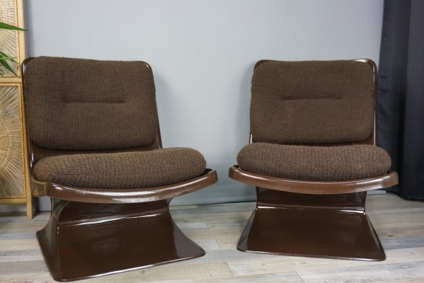 Pair of Grosfillex lounge chairs, 1970s