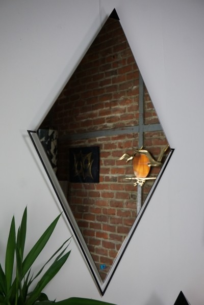 Diamond shaped Art Deco style mirror, 1980s