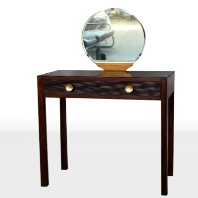 Italian Midcentury small Toilette table with mirror & brass details