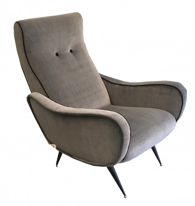 Gray armchair with brass feet, 1950s