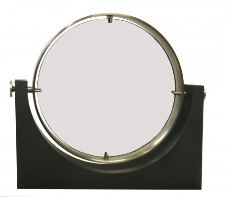 Vanity Mirror with Black Marble Base, Italy 1970s