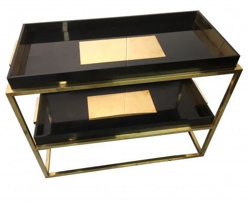 1970s Brass Console With Two Removable Trays