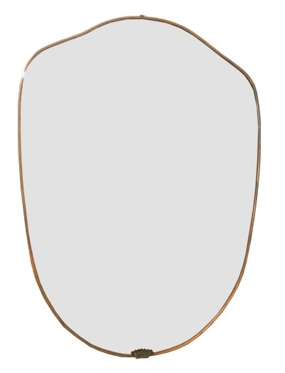 1950s Brass Shield Mirror