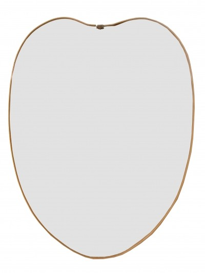 1950s Brass Heart Mirror