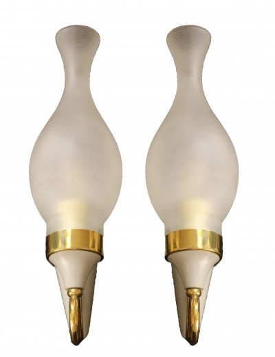 Set of Two Italian Wall Lamps in Brass, 1950s