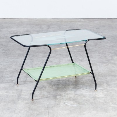 50s coffee table in metal & glass