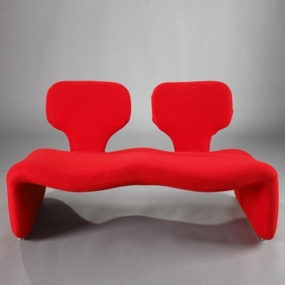 Vintage Red Djinn Sofa by Olivier Mourgue for Airborne, 1960s