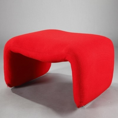 Djinn Ottoman in Red Fabric by Olivier Mourgue for Airborne, 1960s