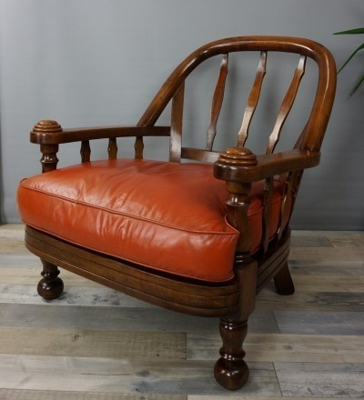 Pair Of Solid Wood And Leather Armchairs