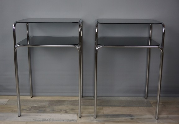 Pair Of Vintage Chrome And Glass Side Tables