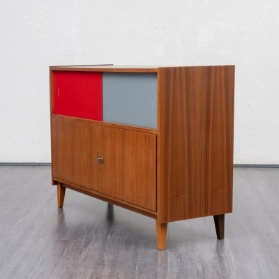 1950s sideboard in walnut with coloured glass doors
