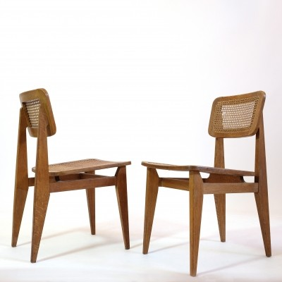 Pair of C cane chairs by Marcel Gascoin for Arhec, 1950's