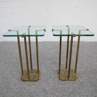 Pair of Brass & Glass side tables by Peter Ghyczy, 1970s