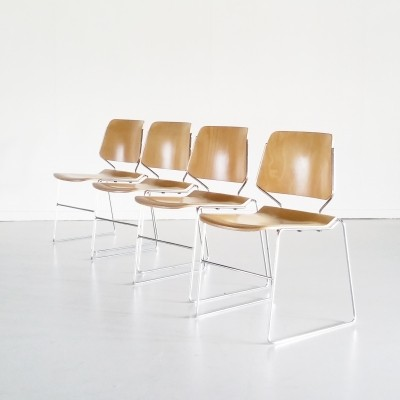 Set of 4 Plywood Matrix Chairs by Thomas Tolleson for Krueger, 1960s