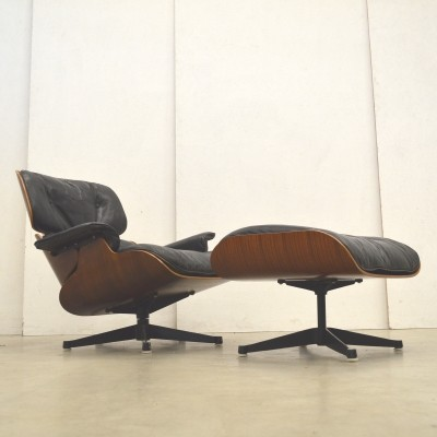 1st Edition Eames Lounge Chair & Ottoman by Herman Miller, 1950s