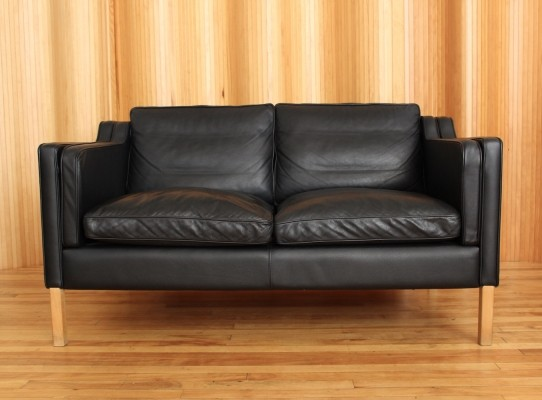 Classic Danish two seater leather sofa by Stouby