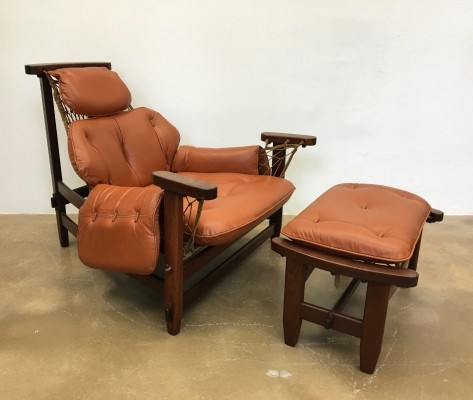 Jean Gillon 1960s Gran Captain Leather & Mahogany Armchair & Ottoman
