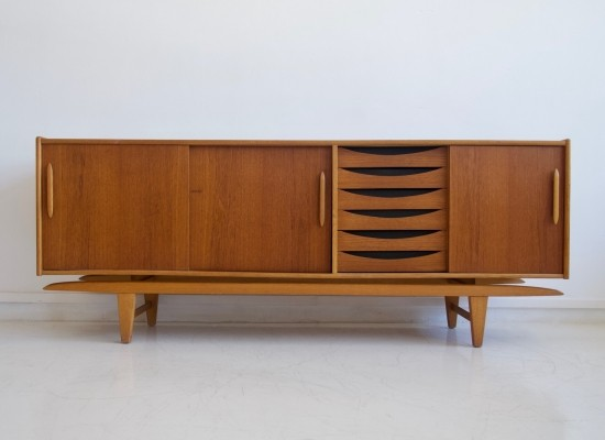 Swedish Modern Teak Sideboard by Tibro with Sliding Doors & Drawers