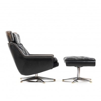 Danish Leather Swivel Lounge Chair & Ottoman by Werner Langenfeld for ESA