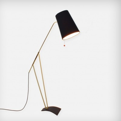 Floor Lamp With an Adjustable Fabric Shade And Brass Details, 1950s