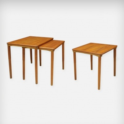 Set Of 3 Teak Nesting Tables by E. W. Bach for Møbelfabrikken Toften, 1960s