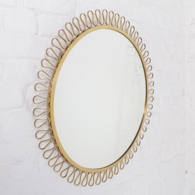 High quality brass framed circular mirror