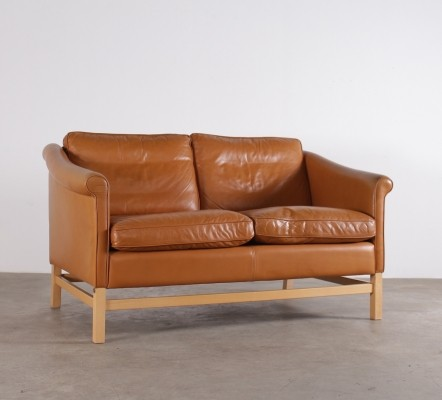 Danish cognac leather sofa