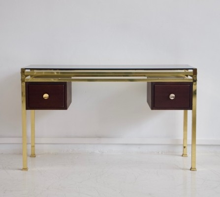 Dressing Table or Console with Tinted Glass Top & Brass Frame