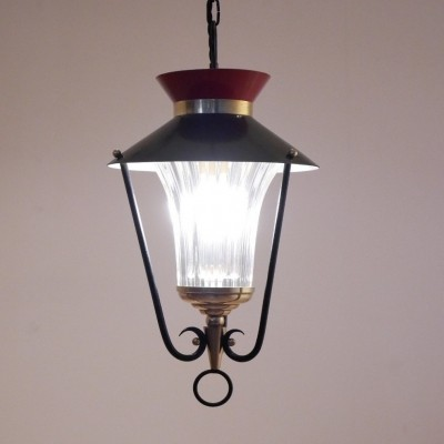 French mid-century Lantern Pendant Lamp in Glass, brass & painted metal