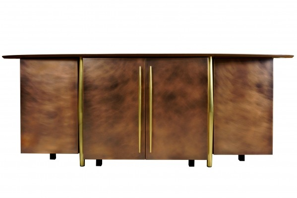 Brass & Copper Metal Sideboard by Belgo Chrom, 1970s